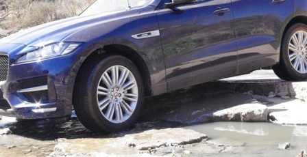 Femi Owoeye's F-Pace crossing broken, rough and flooded culvert during the adventurous test-drive of Jaguar F-Pace